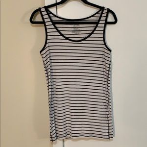 Time and Tru black and white striped tank top